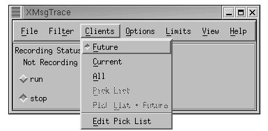 Xmsgtrace Menu: Protocol->Clients->Future